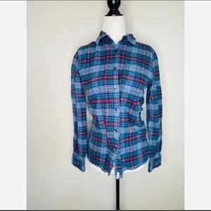Woolrich Plaid Long-sleeve Button Down Flannel Top